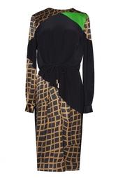 Шелковое платье с асимметричным принтом Preen