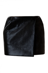 Кожаная мини-юбка с запахом Diane von Furstenberg