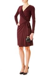 Бордовое платье с запахом Diane von Furstenberg