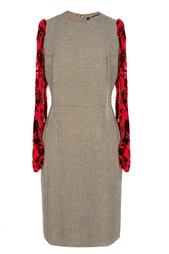 Шерстяное платье с красными рукавами Junya Watanabe