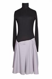 Двухцветное платье с асимметричной юбкой Victoria Beckham