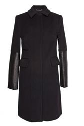Пальто из шерсти с кожаными вставками Diane von Furstenberg