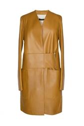 Кожаное пальто с карманами The Row