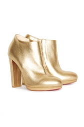 Золотые ботильоны Rock And Gold 120 Calf Lame Christian Louboutin