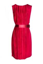 Шелковое плиссированное платье с поясом Oscar de la Renta