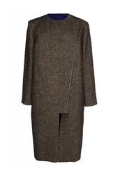 Коричневое пальто с асимметричной молнией Stella Mc Cartney