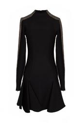 Черное теплое платье с коричневыми вставками Stella Mc Cartney