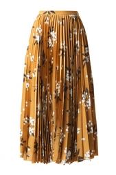 Шелковая плиссированная юбка с принтом Alexander Terekhov