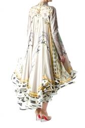 Шелковое пышное платье с шлейфом Mary Katrantzou