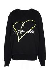 Черная толстовка с принтом-сердцем Viva Vox