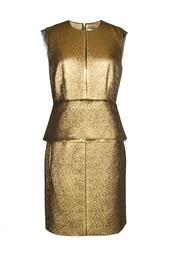 Золотое платье с баской на поясе Diane von Furstenberg