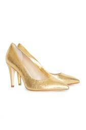 Золотые туфли-лодочки на среднем каблуке Diane von Furstenberg