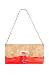 Клатч Riviera Clutch Cork Lame/Patent Fluo Christian Louboutin