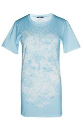 Голубая хлопковая футболка с принтом Balmain
