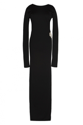 Черное платье в пол с птицей на спине Balmain