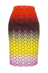 Юбка-карандаш из хлопка с разноцветным принтом Jonathan Saunders