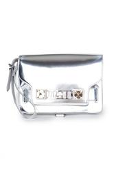 Кожаная серебристая сумка с пряжкой Proenza Schouler
