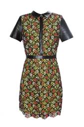 Платье с принтом и кожаными вставками Jason Wu