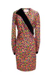 Платье с принтом в виде драгоценных камней (80-е гг.) Oscar de la Renta Vintage