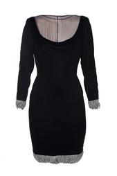 Вечернее платье с перьями на подоле и рукавах (90-е гг.) Valentino Vintage