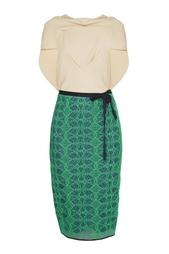 Двухцветное платье с кружевной юбкой Roland Mouret