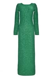 Платье из хлопка и шелка Oscar de la Renta