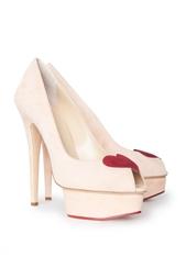 Розовые Туфли с открытым носом на высоком каблуке Delphine Charlotte Olympia