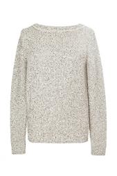 Пуловер из хлопка и шерсти с отделкой в виде золотых пайеток Oscar de la Renta