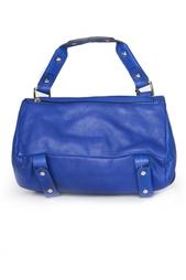 Синяя объемная кожаная сумка на длинном ремешке Golden Lane