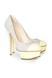 Желтые Льняные туфли с кожаной отделкой Monacoco Charlotte Olympia