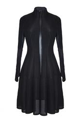 Платье-пальто из полиэстера с полупрозрачными вставками Junya Watanabe