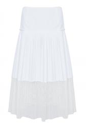 Плиссированная юбка из хлопка с вставкой из сетки Stella Mc Cartney