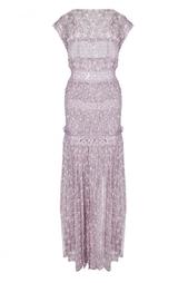 Шелковое платье в пол с кружевными вставками Nina Ricci