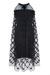 Черное платье из полиэстера с полупрозрачным верхом Temperley London