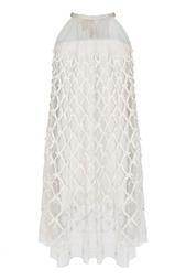 Бежевое платье с полупрозрачным верхом из полиэстера Temperley London