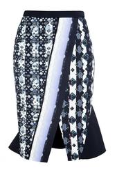 Обтягивающая юбка с ярким принтом и вырезом Peter Pilotto