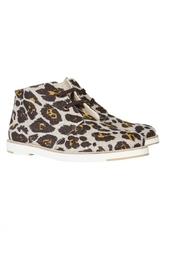 Льняные ботинки с леопардовым принтом Stella Mc Cartney