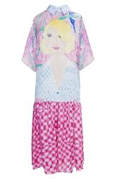 Розовое платье ниже колена с портретом девушки Tata Naka