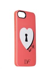 Чехол для iPhone 5 Lock Heart Coral Diane von Furstenberg