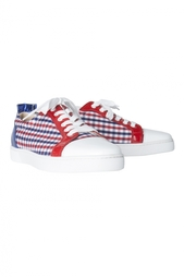 Кожаные ботинки Louis Junior Flat Patent/Vichy Fabric/Specchio Christian Louboutin