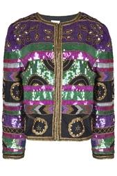 Шелковый жакет с вышивкой пайетками (80-е гг.) Leslie Fey Vintage