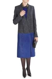 Пальто из шерсти и кожи Victoria Beckham