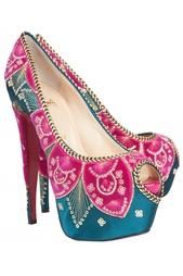 Шелковые туфли Highness Sombrero 160 Satin/Velvet/Pat Christian Louboutin