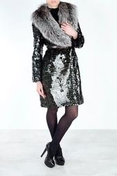 Шерстяное пальто с воротником из меха лисы Marc Jacobs