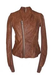 Приталенная куртка из мятой кожи Rick Owens