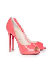 Розовые Туфли с открытым носом Flo 120 Patent Fluo Christian Louboutin