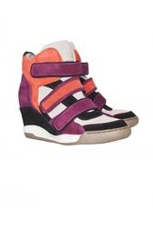 Разноцветные кроссовки из кожи и велюра со скрытым каблуком Alex ASH