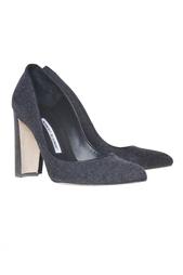 Темно-серые туфли на устойчивом каблуке Neurotica Manolo Blahnik
