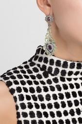 Серебряные серьги с сапфирами, аметистами и зелеными агатами «Перо Павлина» Axenoff Jewellery
