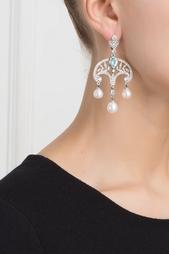 Серебряные серьги с жемчугом, голубыми и бесцветными топазами «Принцесса Ирина» Axenoff Jewellery